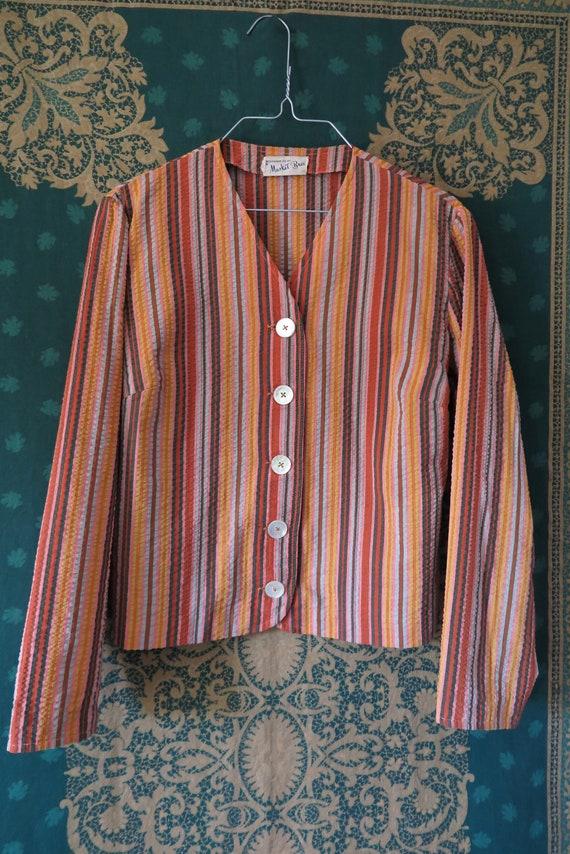 1960s VTG Top- Long Sleeve Seersucker Orange Tone… - image 4