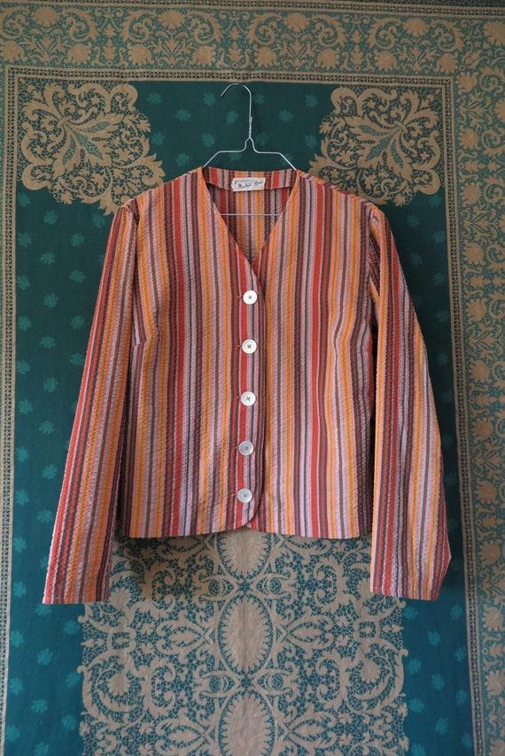 1960s VTG Top- Long Sleeve Seersucker Orange Tone… - image 3