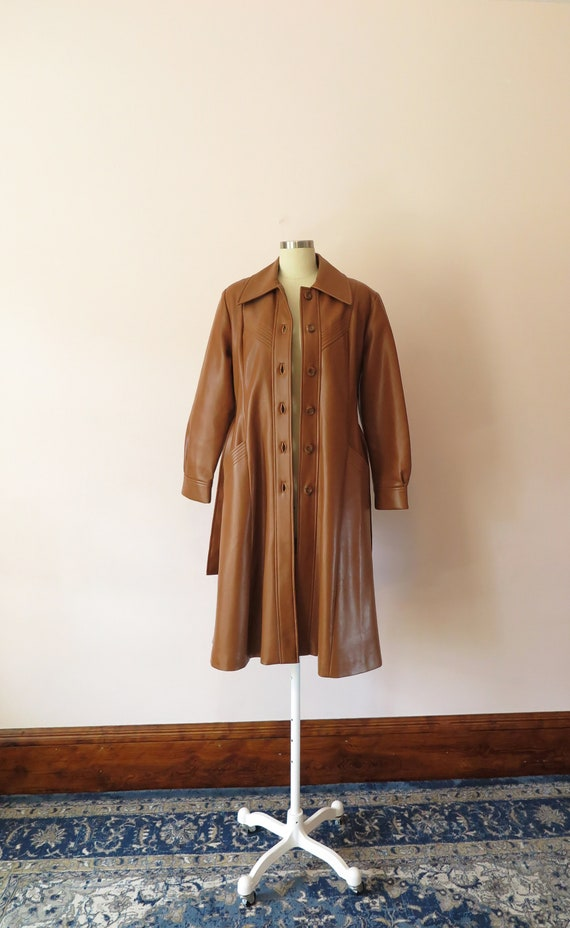 1970s VTG Jacket- Tan Leather Faux Leather Trench… - image 7