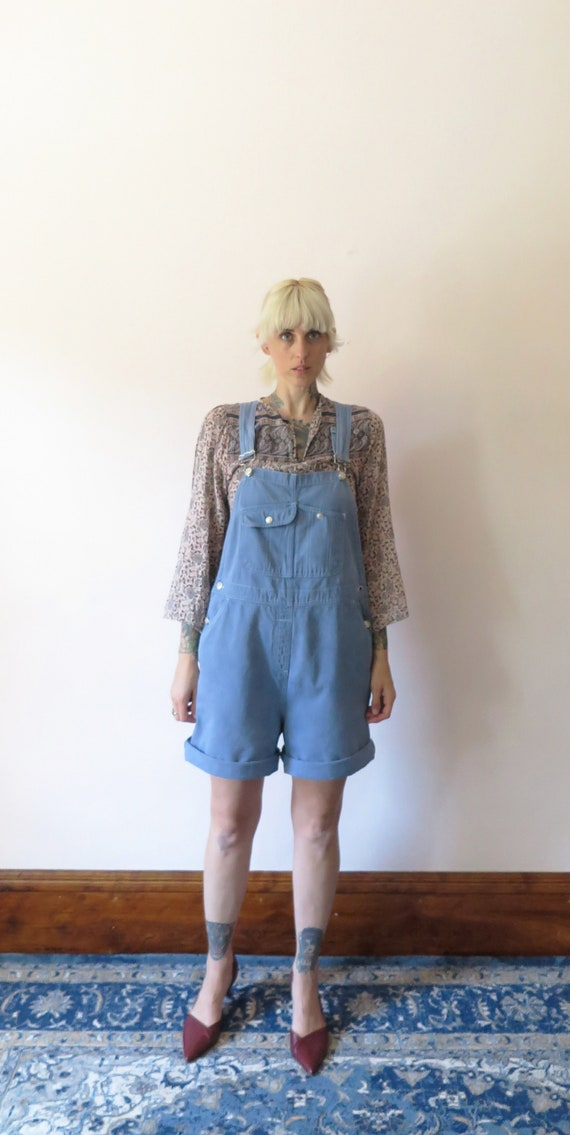 1990S VTG Overalls- Dusty Blue Cotton Short Overal
