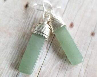 Green aventurine earrings, wire wrapped earrings, Sterling silver, wire wrapped aventurine, natural stone earrings, green earrings