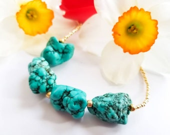 Turquoise howlite necklace, turquoise, howlite, Japanese seed beas, turquoise and gold necklace, beaded necklace, statement necklace