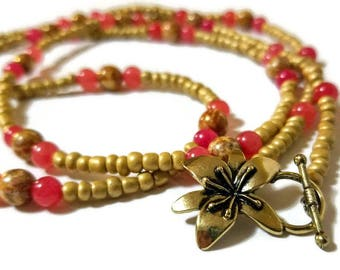 Rose dyed quartzite, and gold bead necklace