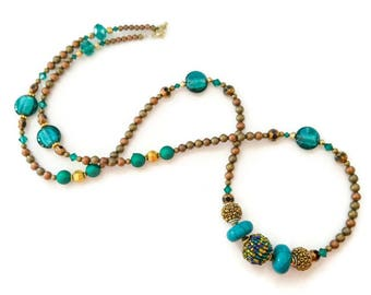 Teal, brown, and gold necklace