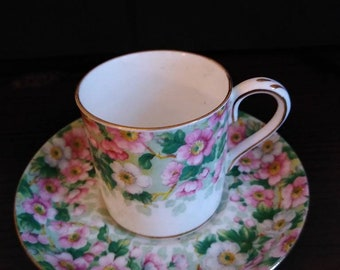 Crown Staffordshire Fine Bone China Demitasse Cup/Saucer. Pink and Green Floral Motif, Gold Trim. Free Shipping U.S.