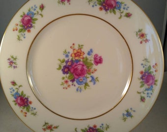 "Vintage ""Lenox Rose"" Dessert Plate, Multi-color Floral Motif, Gold Trim.Free Shipping U.S,"
