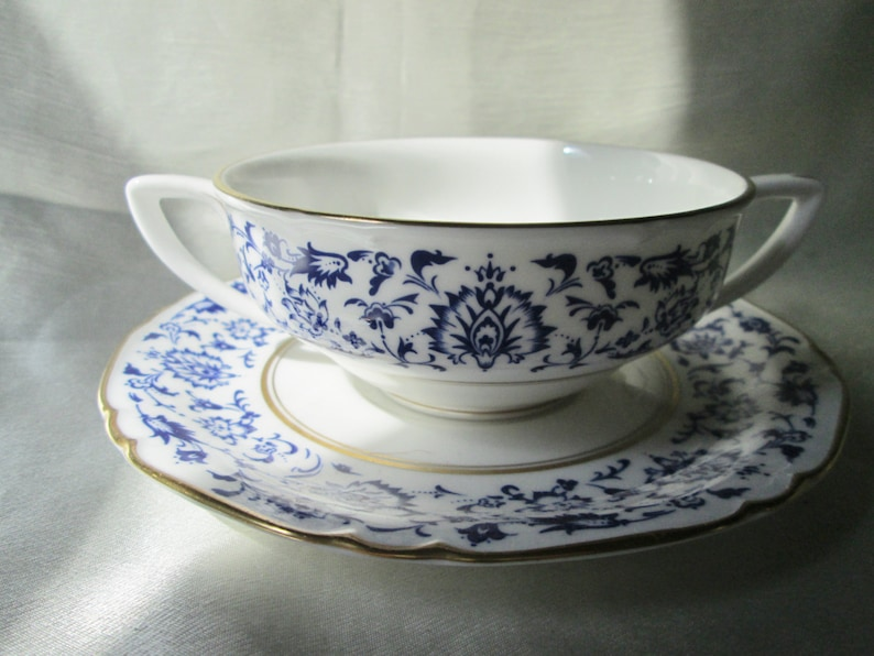 Thank You Gift Housewarming Gift Father/'s Day Gift Hand Decorated Blue Floral Design on White Hostess Gift 1960s WORCESTER CREME SOUP
