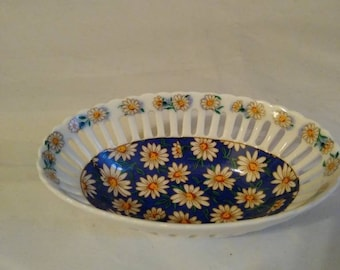 Daisy Motif Small Reticulated Bowl; Blue Base with Yellow & White Daisies. Gold Trim.