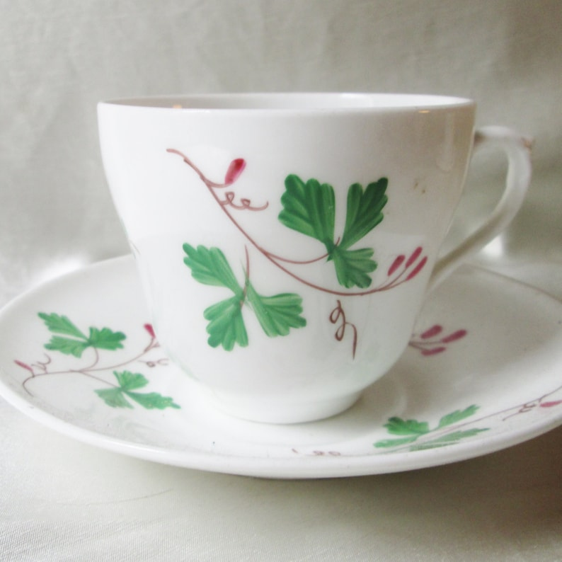 1860 English Hand Painted Porcelain Tea Cup-Saucer,Red Berry Branch Motif   Housewarming Gift, Christmas Gift
