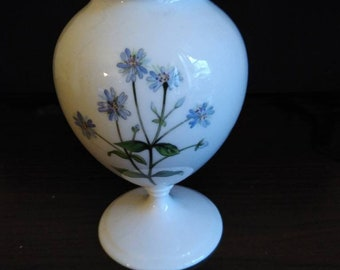 Vintage Minton Bone China Pedestal Vase. Blue. Yellow, Red and Green Floral Motif. Free Shipping U.S.