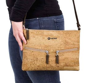 Vegan Cross-Body Bag for Women - Non Leather Crossbody Bag - Vegan Bag - Woman Bag - Cool Gift - Cork Purse Cross-Body  (CK159)
