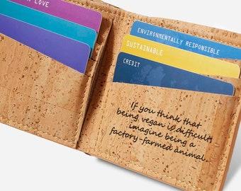 Vegan Leather Wallet Personalized Cork Wallet Men Slim Bifold Sustainable Vegan Gift for Man (CK153)