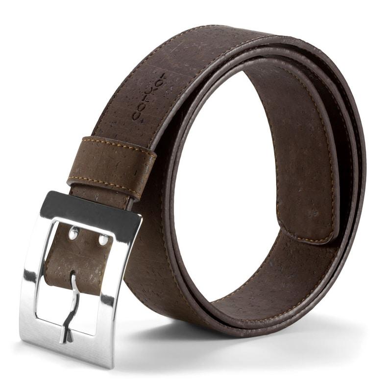 Women's Cork Belt 40mm Wide Adjustable Vegan Product from Dark Brown