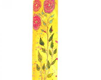 Bookmark handmade drawing flowers.