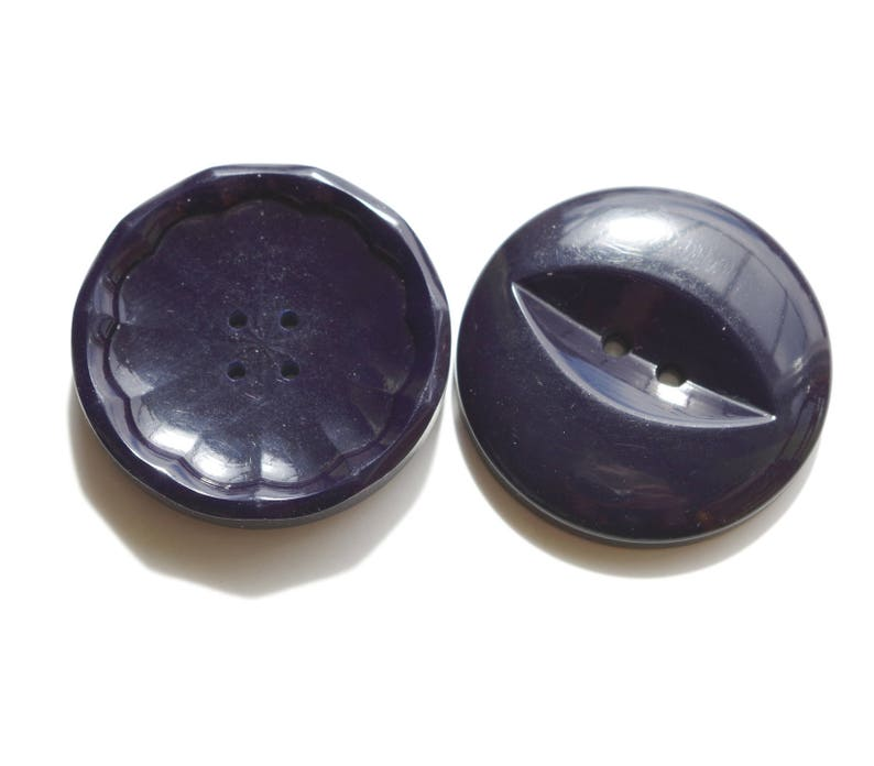 Pair large dark blue vintage buttons nicely worked 38 and 39 mm in diameter.