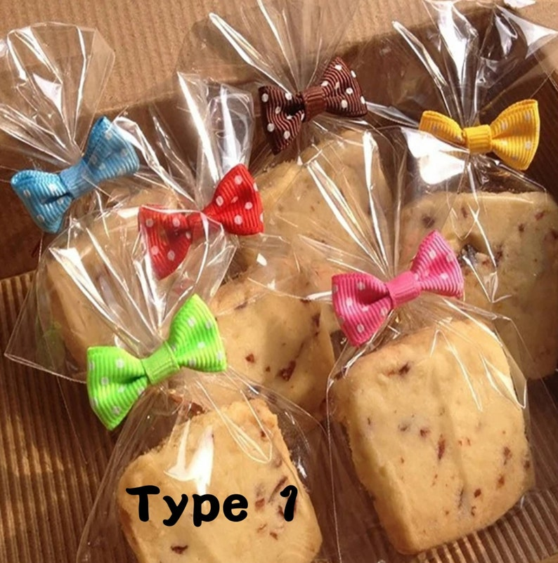 25 pcs 7x10cm Treat Bags with 25 Ribbon Twist Ties 10cm Lollipop  Candy Cake Pop Wrapping