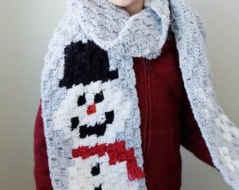 C2C Crochet Snowman Scarf Pattern - Digital Download - Crochet Pattern