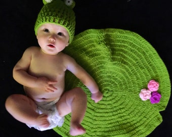 Frog hat and lily pad baby photo prop set