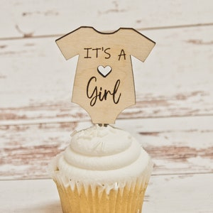 Set of 12 ~ It/'s a Boy Wood Cupcake Toppers ~ Baby Shower ~ Wood Pick ~ Rustic Baby Shower Decoration ~ Engraved ~ 3.5