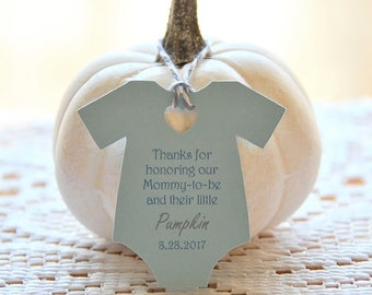 MINI Colored Ink ~ Thanks for honoring our mommy to be and her little pumpkin Gift Tags ~ Baby Onesie Gift Tags ~ Baby Shower Tags ~10 tags~