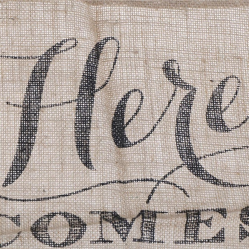 Rustic Burlap Here Comes The Bride Wedding Sign Flower Girl Sign Bride Banner Flags