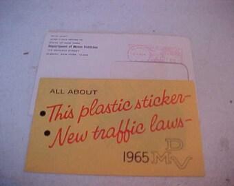 1965 New York State License Plate Letter From DMV Explaining Red Sticker on 1964 Worlds Fair Plate New York Laws Transportation Memorabilia