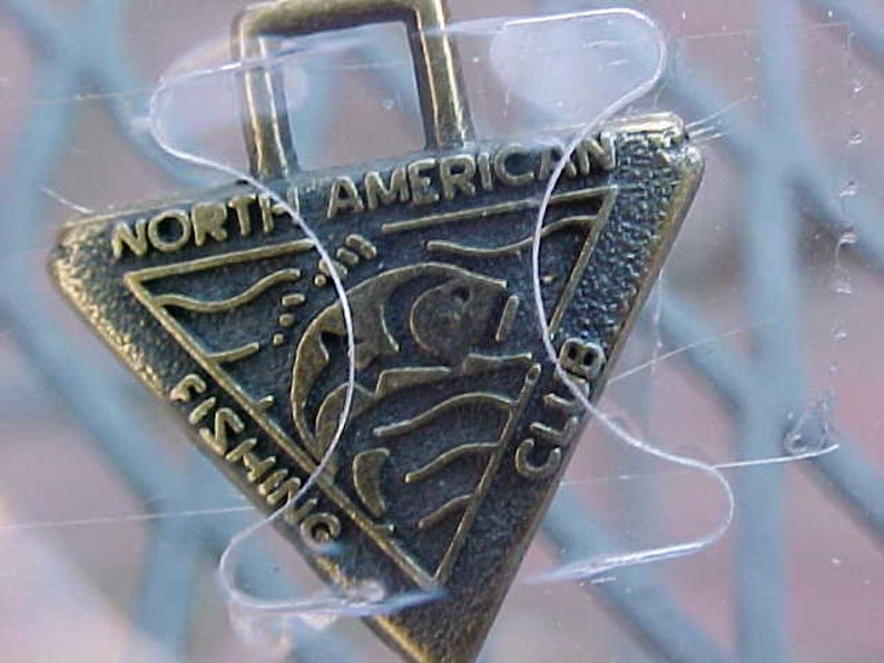 Vintage North American Fishing Club Charm Brass Sports Fish Novelty Memorabilia Saltwater Freshwater Fisherman Conservation Retro NOS