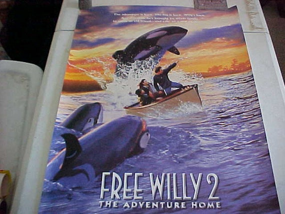1995 Movie Posters: 1995 Vintage FREE WILLY 2 Colorful Movie Poster The
