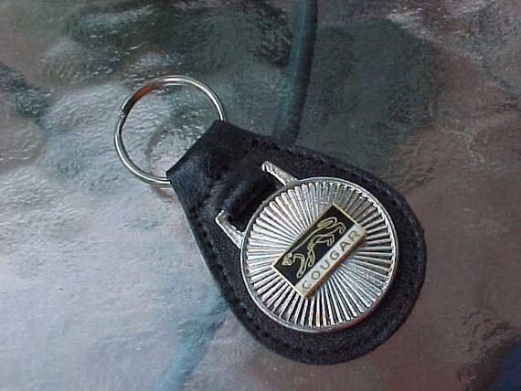 Leather Car Key Chain Vintage Key Ring Key Fob Mercury Cougar New Old Stock