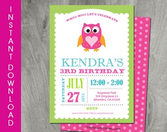 Owl Birthday Invitation Self Editable INSTANT DOWNLOAD Girl Party Printable Diy Personalized Pink Template