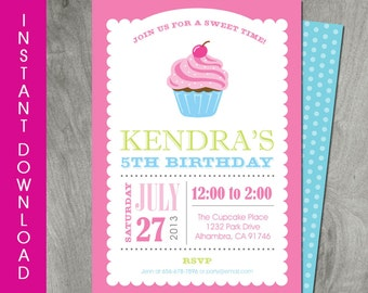 cupcake invitation etsy