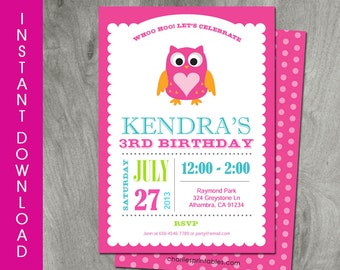 Owl invitation etsy owl invitation self editable instant download diy party printable birthday invitation baby shower personalized pink digital pdf file filmwisefo