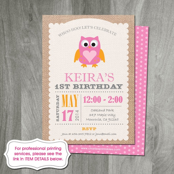 Owl Birthday Party Invitation Burlap Background Custom