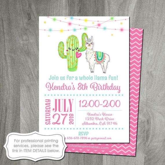 Llama Birthday Invitation Digital File Cactus Party Printable Custom Girls Party Baby Shower Printing Services Available