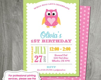 Owl Birthday Party, Printed Invitation or Digital File, Personalized, Baby Shower, 1st Birthday, Owl Printable, Custom, Girl Birthday