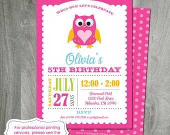 Owl Invitation, Personalized Birthday Party Invitation, Baby Shower, 1st Birthday, Owl Printable, Custom, Digital File, Pink, Girl Birthday