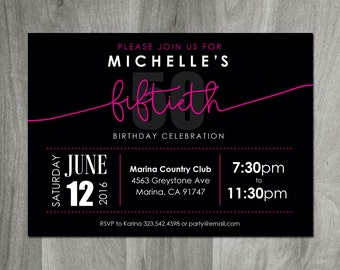 50th Birthday Invitation, Adult Birthday, Fiftieth Party, Diy Printable, Printing Available, Personalized Digital File, Pink and Black