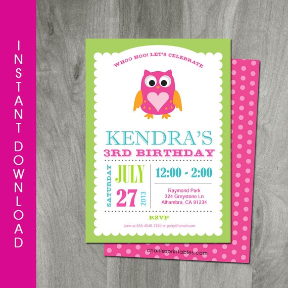 Owl Birthday Invitation Self Editable INSTANT DOWNLOAD Girl