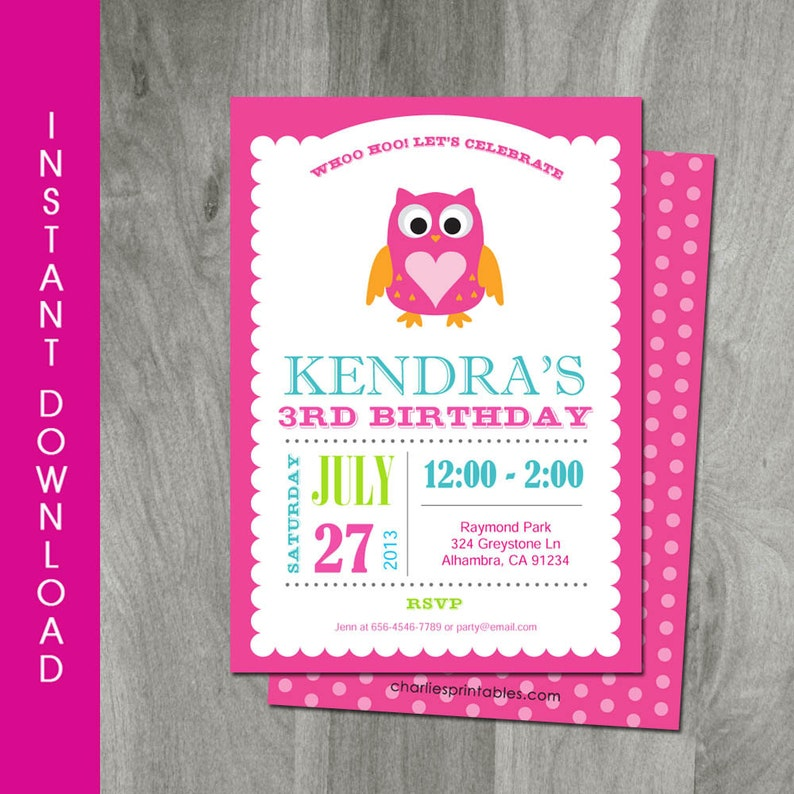 Owl Invitation Self Editable INSTANT DOWNLOAD Diy Party