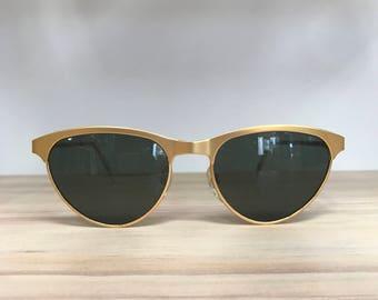 Vintage sunglasses black gold metal