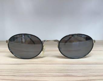 Black pewter oval vintage sunglasses