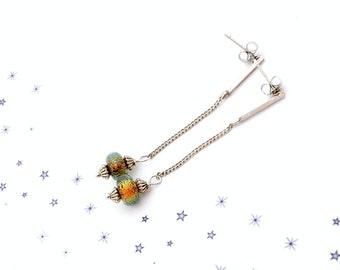 Amber steel Pearl orange Dichroic Glass Stud Earrings