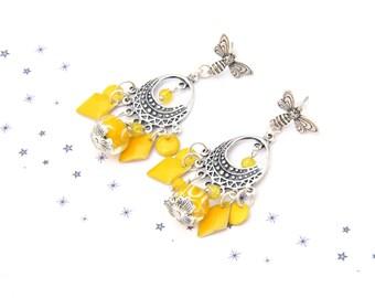 Earrings Bohemian Gypsy sequined enamel glass bead spun yellow bee
