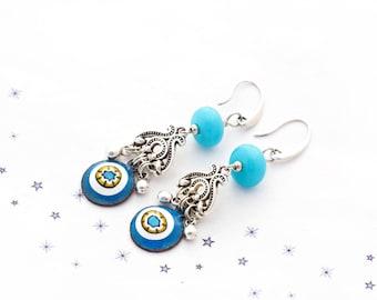 Earrings copper enamel dangle charm bead Lampwork