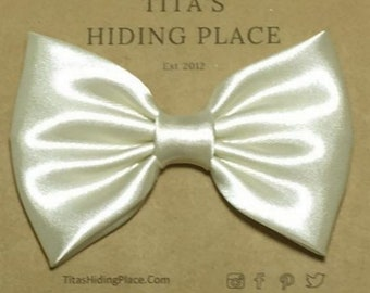 Ivory Satin Hair Bow