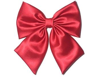 Red Satin Hair Bow