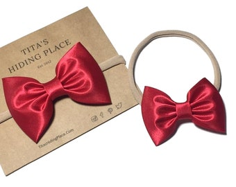 Satin Red Hair Bow Headband