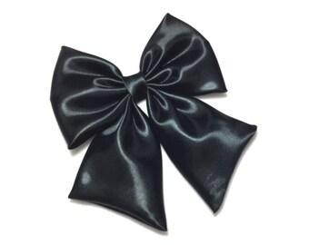 Black Satin Hair Bow