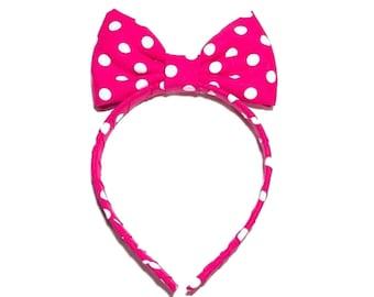 Pink and white Polka Dot Headband Bow, Cosplay Costume Anime, Fun Minnie Mouse Headband Bow, Pink Polka Dot Headband, Pink Bow Headband Girl