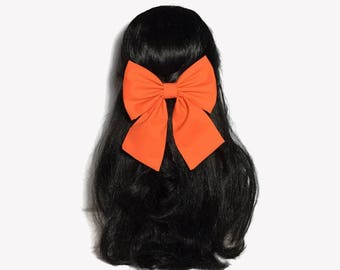 Girls Orange Bow, Orange Bow, Girls Bows, Orange Bow Clip, Girls Hair Bows, Hair Clip For Girls, Sailor Bow Clip, Hair Bows For Women